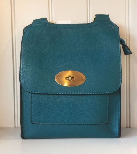 Faux Leather Antony Messenger Bag - Peacock Blue